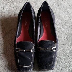 EUC Aerosoles Sz 8 black leather loafer flats